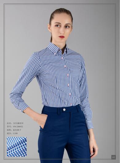 蓝色小格子女士衬衣