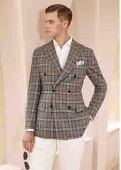 双排格子外套