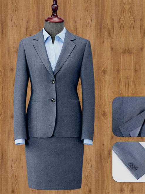 灰色单排两粒扣女西服套装