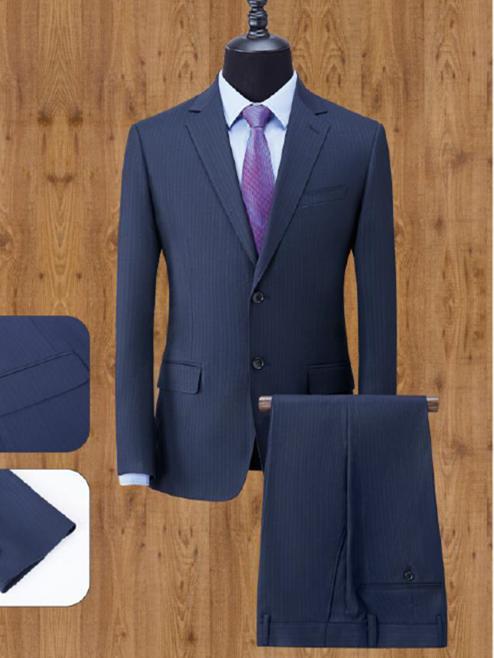 藏青条单排两粒扣男西服