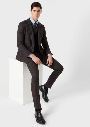 条纹男士西服套装