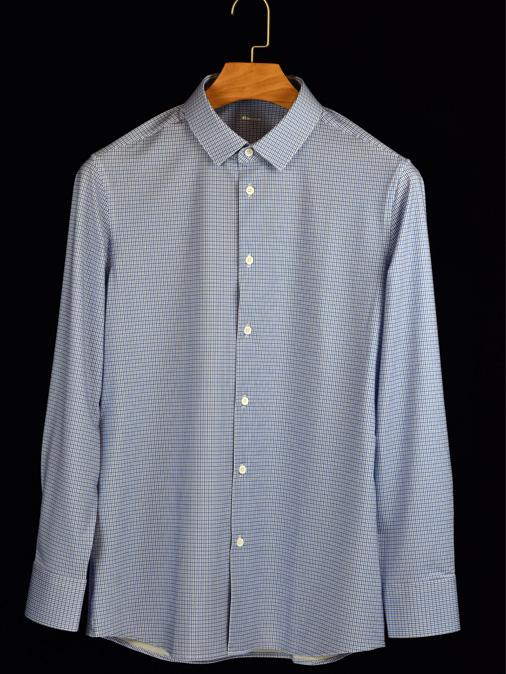 蓝色细格弹力衬衫
