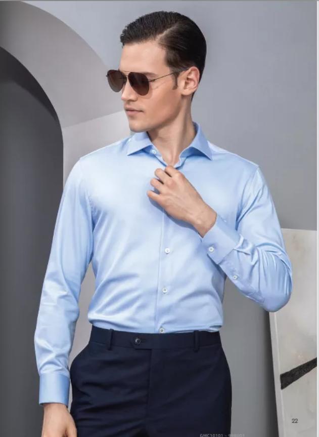 天蓝色商务衬衫