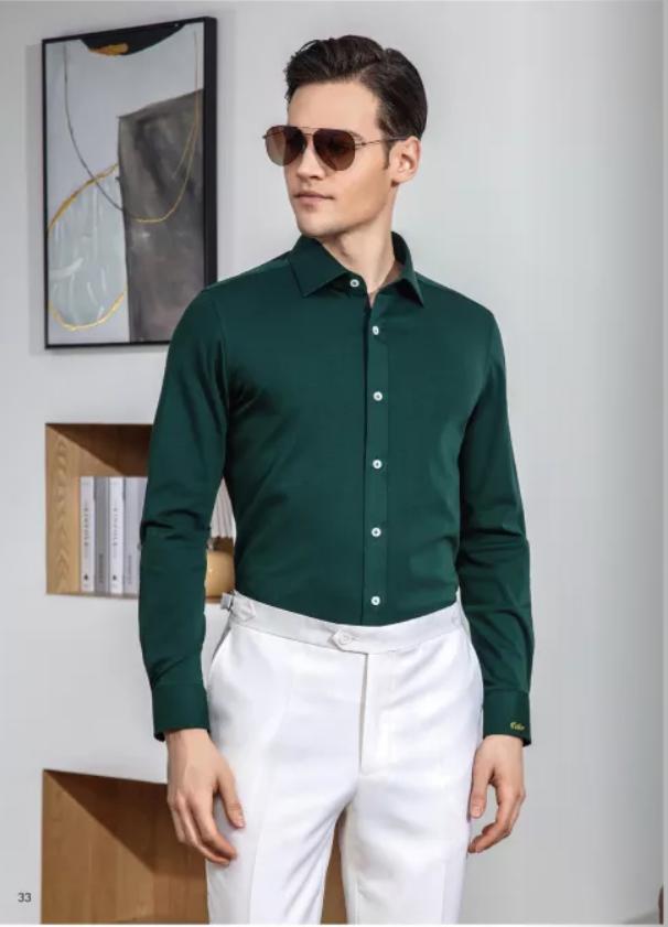 深绿色商务衬衫