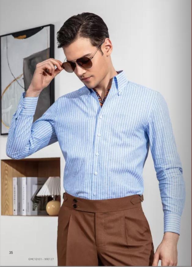 蓝色条纹商务衬衫