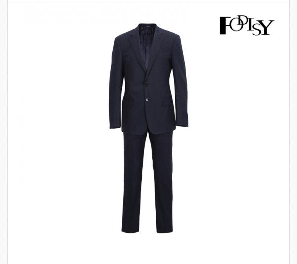 深蓝色条纹肌理平驳领开衩男士西服套装