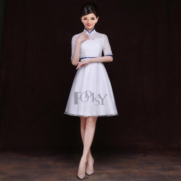 蕾丝拼接五分袖礼仪服演出服酒店迎宾服