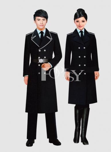 秋冬长款加厚男女妮子外套保安物业巡逻呢子大衣