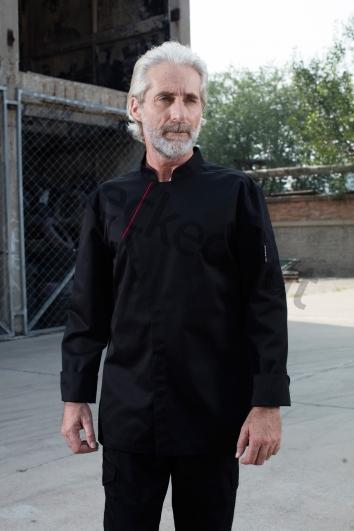斜角镶边门襟长袖厨师服 黑色镶酒红 高端定制厨师服系列秋冬新品