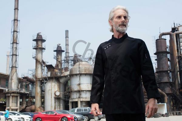 三粒扣斜襟长袖厨师服 黑色 高端定制厨师服系列秋冬新品