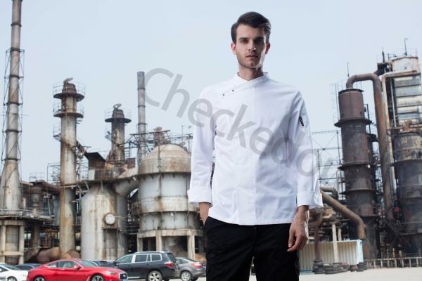 三粒扣斜襟长袖厨师服 白色 高端定制厨师服系列秋冬新品