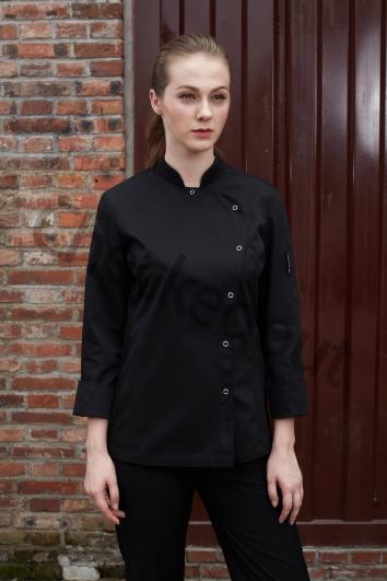 清爽优雅女款长袖厨师服 黑色 高端定制厨师服系列秋冬新品