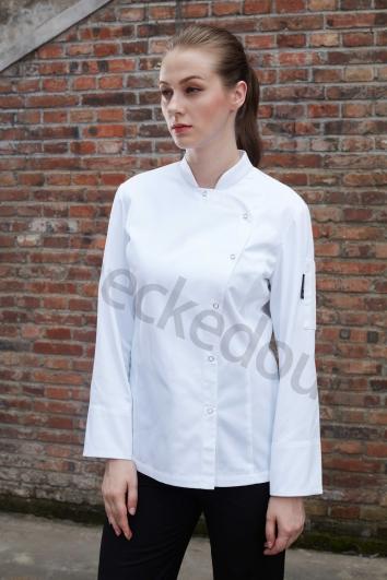 清爽优雅女款长袖厨师服 白色 高端定制厨师服系列秋冬新品