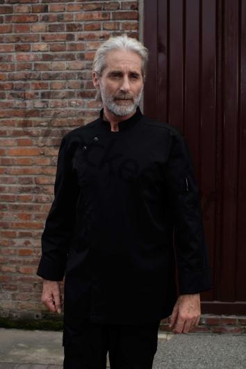高端定制厨师服系列秋冬新品 偏襟弯牙长袖厨师服 黑色