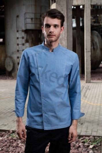 高端定制厨师服系列秋冬新品 借肩单排扣长袖厨师服浅灰蓝、深灰蓝