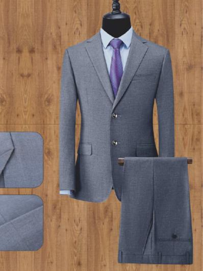 灰色单排两粒扣男西服套装