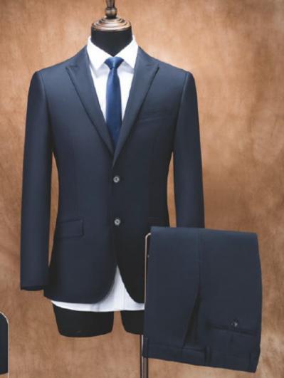 藏青色单排两粒扣男西服