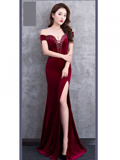 深红色前胸绑带礼服裙