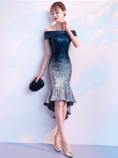 蓝色亮片渐变礼服裙