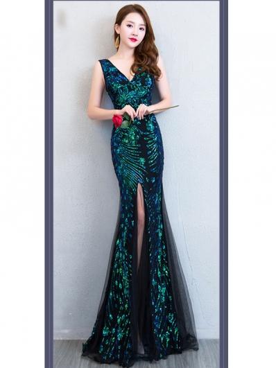 绿色亮片礼服裙
