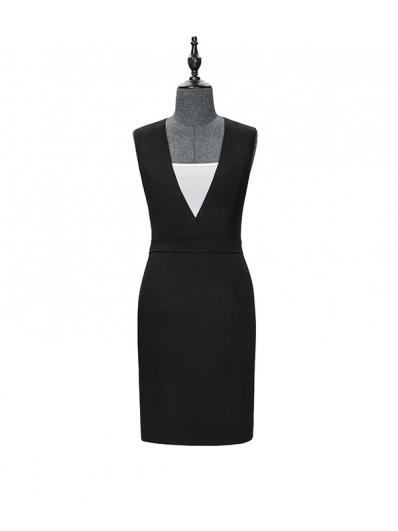 黑白拼接连衣裙