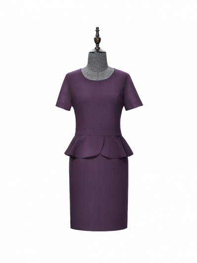 紫色荷叶摆连衣裙