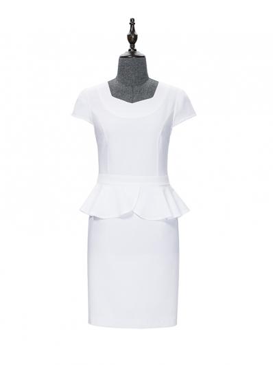 白色荷叶摆连衣裙