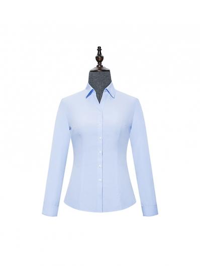 蓝色V领女士衬衣