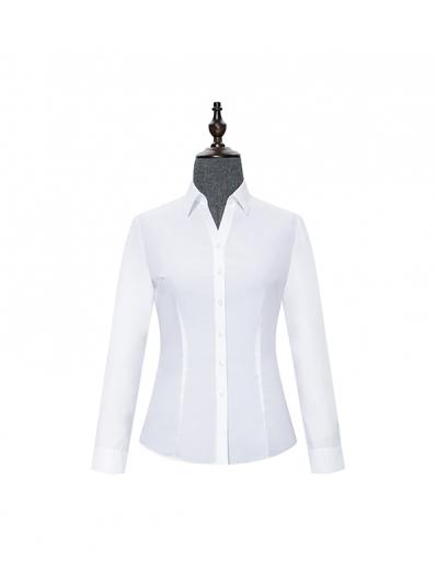 白色V领女士衬衣