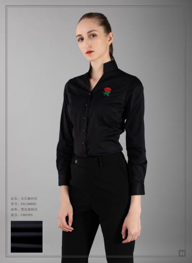 黑色细斜纹女衬衣