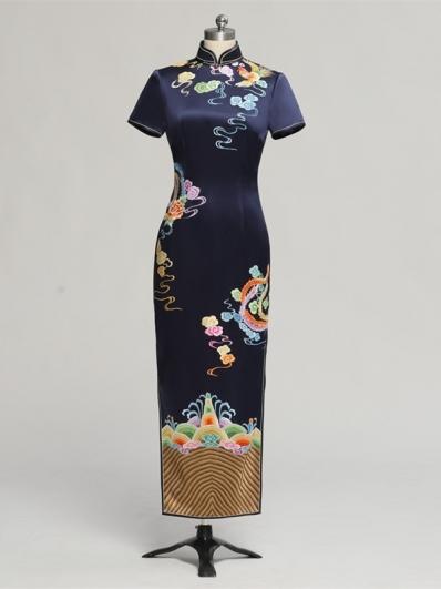 藏青色刺绣旗袍