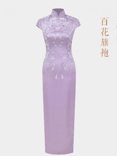 粉色百花旗袍