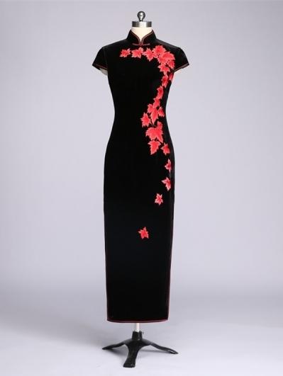 黑色红枫叶刺绣旗袍