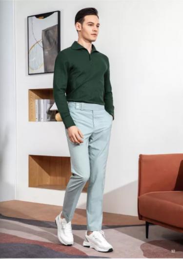 蓝绿色西裤